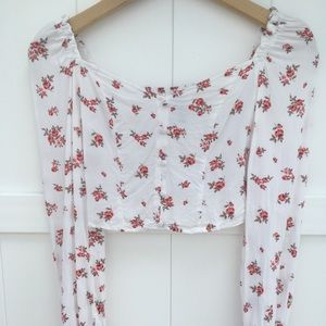 Floral princess puff sleeve crop top